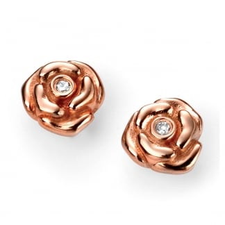 Girl's Rose Gold Plated Rose Stud Earrings