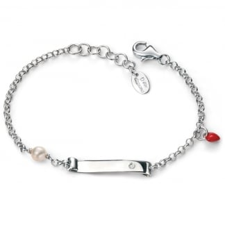 Girl's Scroll with Enamel Heart and Pearl Bracelet B4789