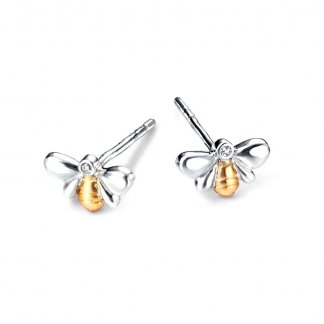 Girl's Silver Bee Stud Earrings with Gold Plated Detail E4818