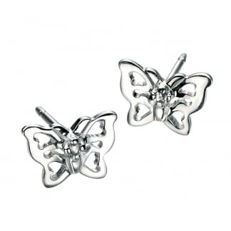 Girl's Silver Filigree Butterfly Stud Earrings E3910