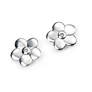 Girl's Silver Flower Stud Earrings