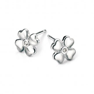 Girl's Silver Four Leaf Clover Stud Earrings
