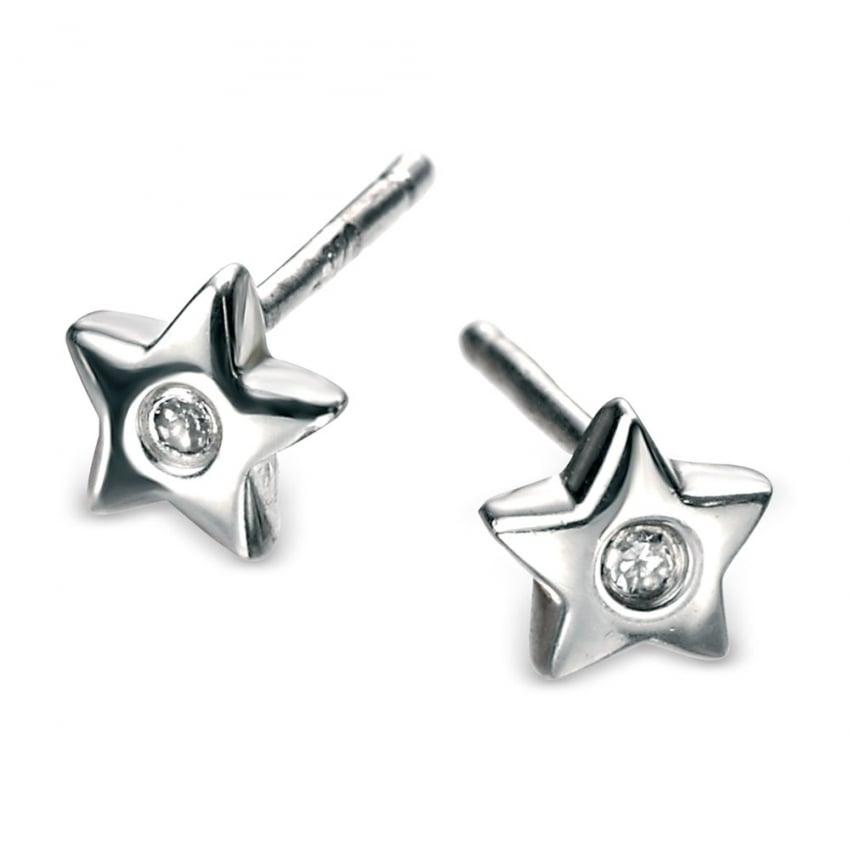 D For Diamond Girl's Sterling Silver Star Stud Earrings E573