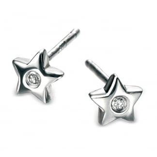 Girl's Sterling Silver Star Stud Earrings E573