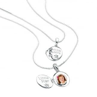 "Girl's Twinkle Twinkle Little Star Locket & 14"" Silver Chain P3724"