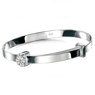Girl's White Daisy Christening Bangle