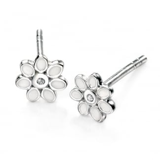 Girl's White Enamel Flower Stud Earrings