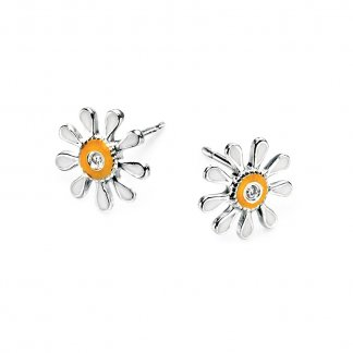 Girl's White/Yellow Enamel Daisy Stud Earrings E3913