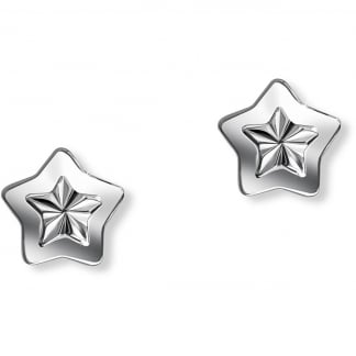 Textured Star Earring Studs
