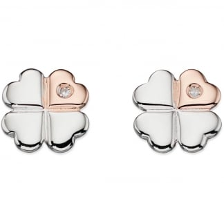 Two Tone Clover Earring Studs