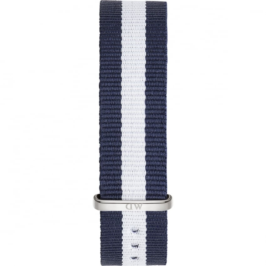 Daniel Wellington Glasgow Silver 36mm Navy/White Nato Strap 0802DW