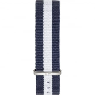 Glasgow Silver 36mm Navy/White Nato Strap 0802DW
