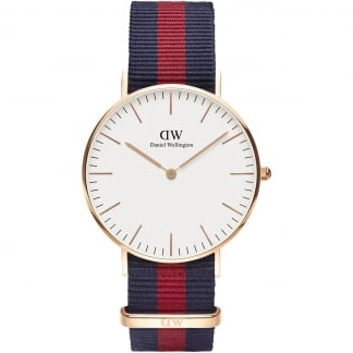 Ladies Rose Gold Classic Oxford 36mm Nato Strap Watch 0501DW