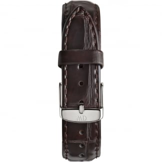 Ladies York 36mm Silver Buckle Croc Leather Strap