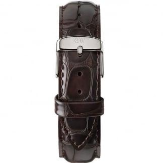York Silver 40mm Brown Croc Leather Strap 0411DW