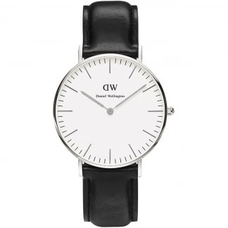 Mid-Sized Sheffield Silver 36mm Black Leather Watch 0608DW