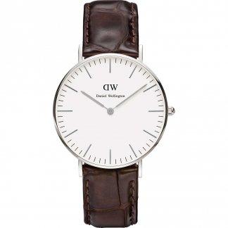 Mid-Sized York Silver Croco Leather Watch 0610DW