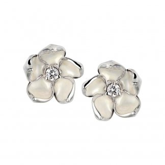Silver & Diamond Cherry Blossom Studs SLS230