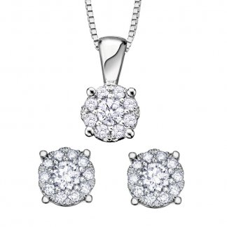 Diamond Cluster Earring & Pendant Set