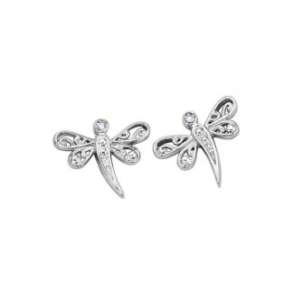 Diamond Dragonfly 9ct White Gold Studs