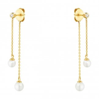 Diamond & Pearl Neva Double Drop Earrings 3519678