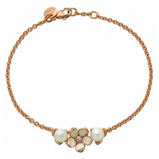 Diamond & Pearl Rose Gold Vermeil Single Flower Bracelet SLS499