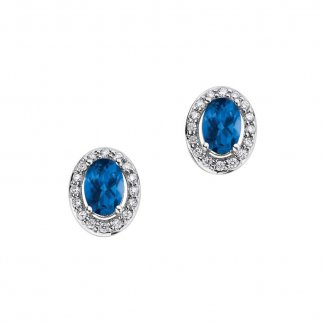 Diamond Sapphire Cluster 9ct White Gold Stud Earrings