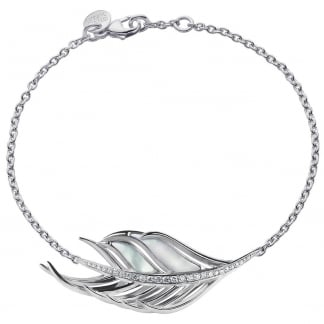 Diamond Set Mother of Pearl Feather Bracelet