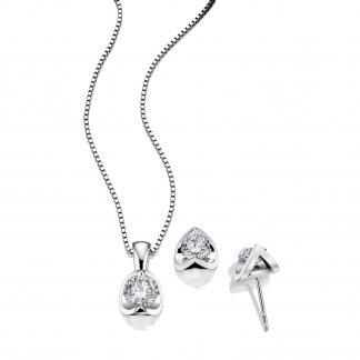 Diamond Solitaire 9ct White Gold Earring & Pendant Set 0304057
