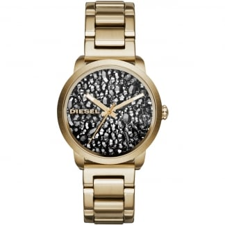 Ladies Flare Black Crystal Dial Gold Tone Watch DZ5521