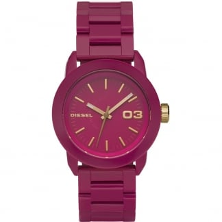Ladies Franchise Pink Resin Bracelet Watch DZ5265