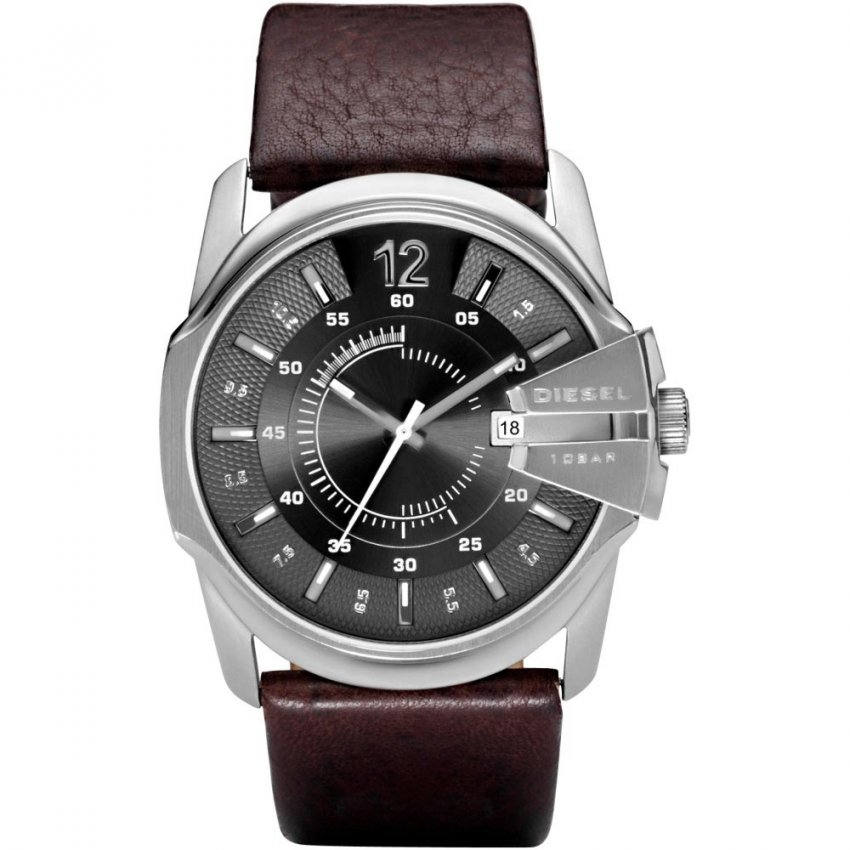 Diesel Men's Black Dial Brown Leather Strap Goose Watch DZ1206
