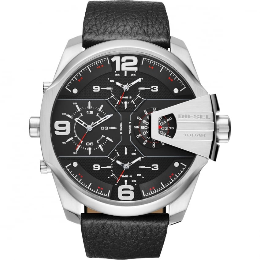 Men's Black Leather Chronograph Chief Watch DZ7376