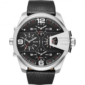 Men's Black Leather Chronograph Chief Watch