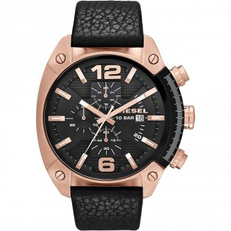 Men's Black Leather Rose Gold Overflow Watch