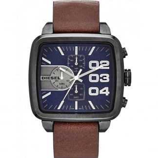 Men's Brown Leather Double Down Chronograph Watch DZ4302