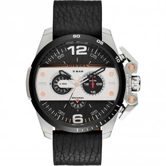 Men's Ironside Black Leather Chronograph Watch DZ4361
