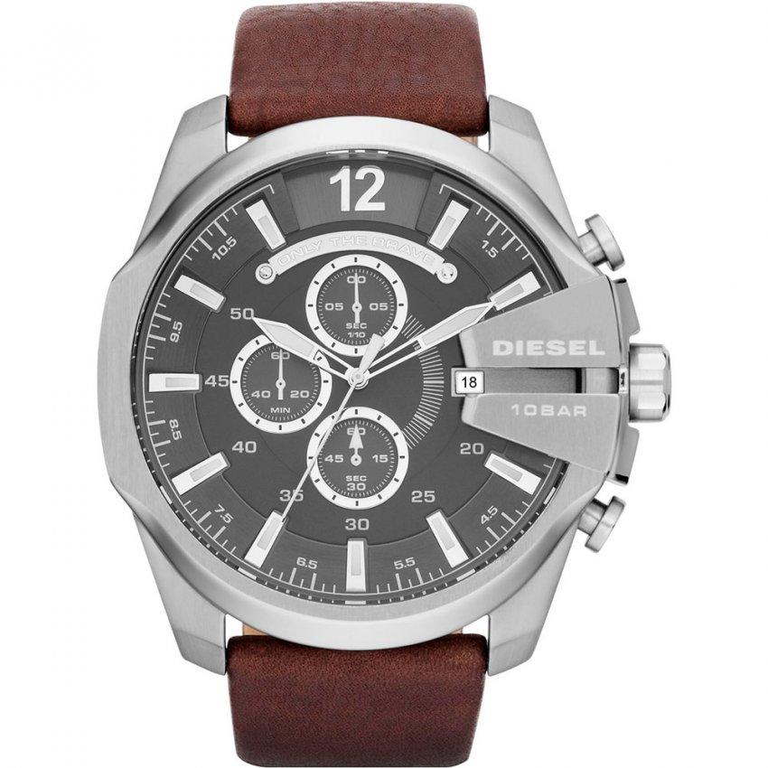 Diesel Men's Leather Strap Mega Chief Chronograph Watch DZ4290