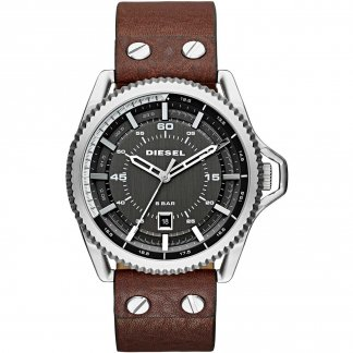 Men's Rollcage Brown Leather Quartz Watch