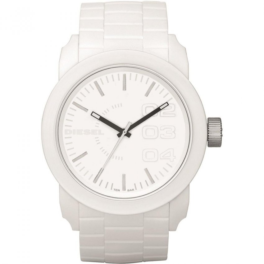 Diesel Unisex White Rubber Strap Franchise Watch DZ1436
