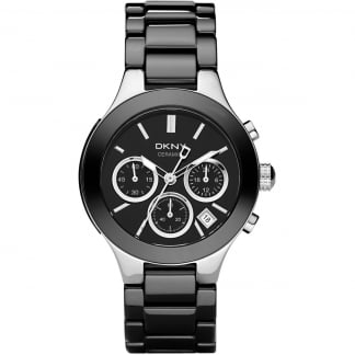 Ladies Black Ceramic Chronograph Chambers Watch NY4914