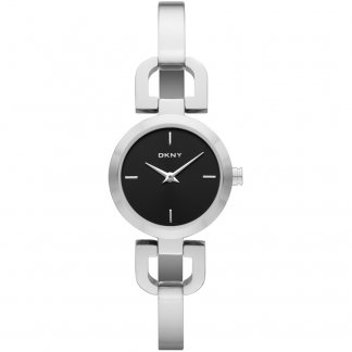 Ladies Black Dial Steel Half Bangle Watch