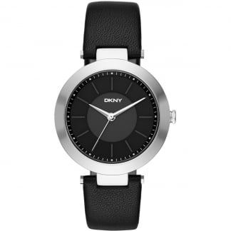 Ladies Black Leather Strap Stanhope Watch NY2465