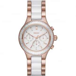 Ladies Chambers Ceramic & Rose Gold Multifunction Watch NY2498