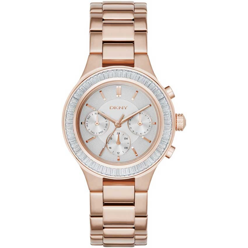 DKNY Ladies Chambers Chronograph Watch In Rose Gold NY2396