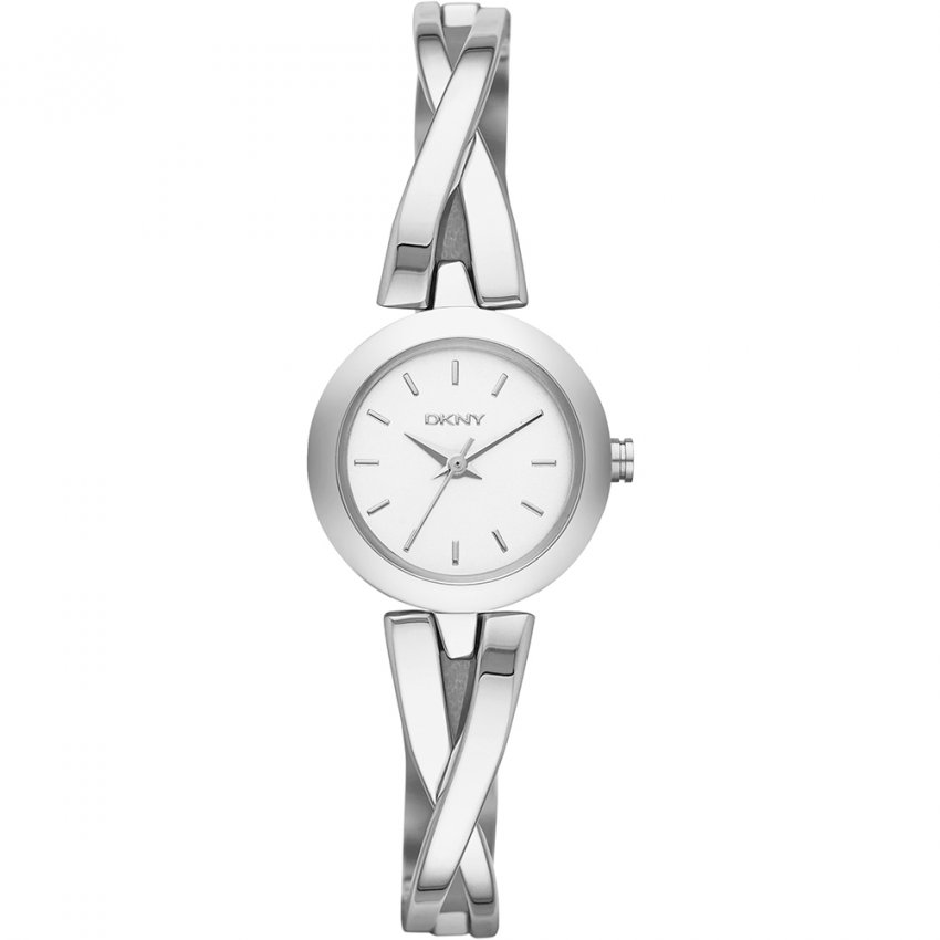 Ladies Crosswalk Silver Tone Crossover Bangle Watch NY2169