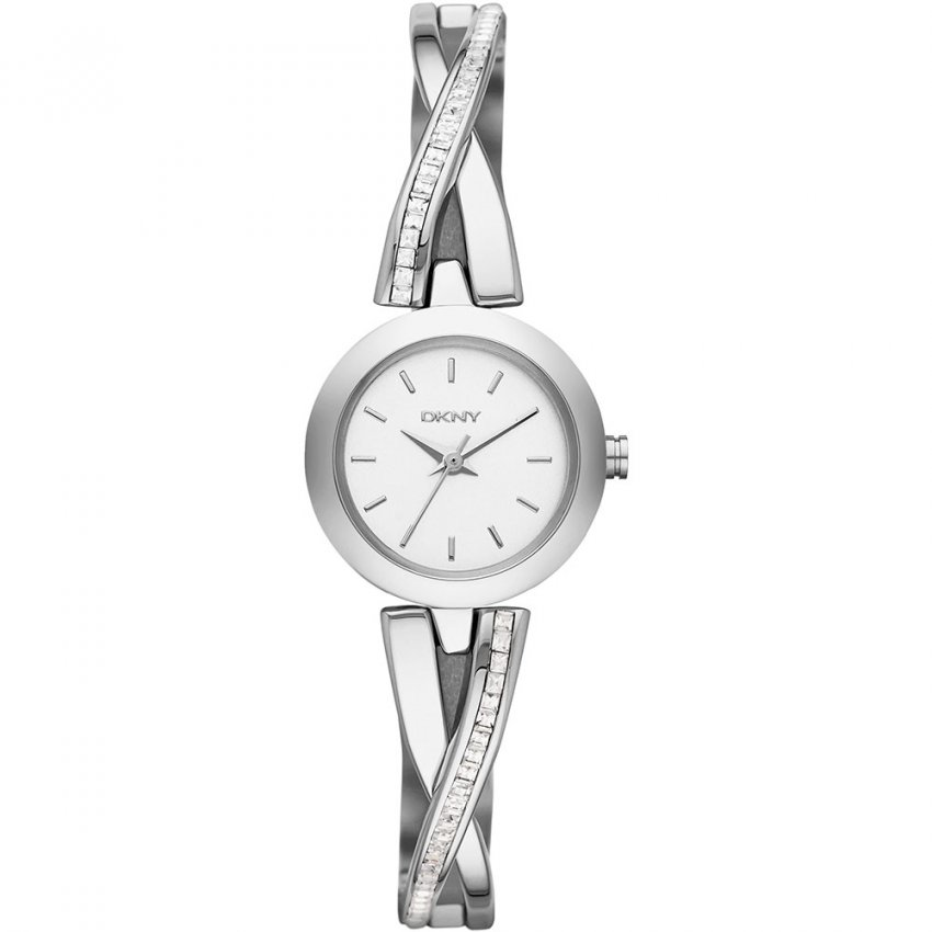 Ladies Crosswalk Silver Tone Glitz Half Bangle Watch NY2173
