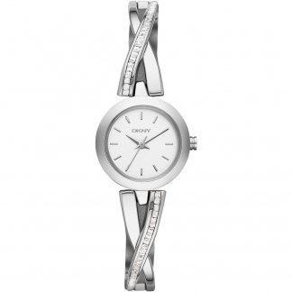 Ladies Crosswalk Silver Tone Glitz Half Bangle Watch