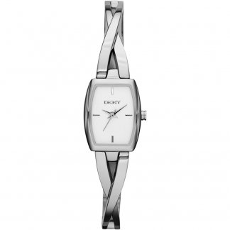 Ladies Polished Steel Crosswalk Bangle Watch