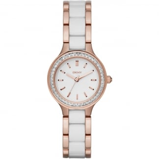 Ladies Rose Gold and Ceramic Chambers Watch NY2496
